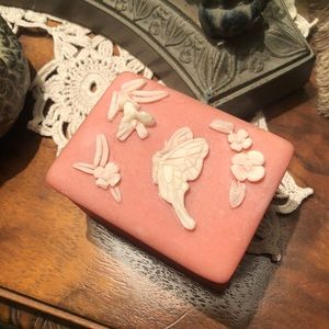 Vintage Pink Incolay Soap Stone Trinket Box